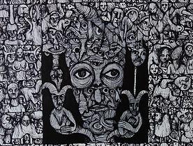 Eric Demelis - Garde-fous, 46x56 cm, Encre de chine sur toile