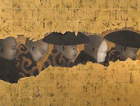 Eric Guéna | La Cérémonie | Acrylique et Feuilles de Cuivre sur toile | 100x81cm