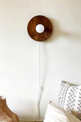 Lakho Round Teak wall lamp