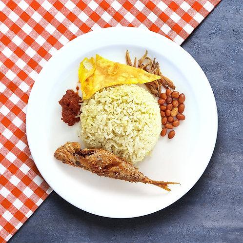 Nasi Lemak with Ikan Goreng and Egg