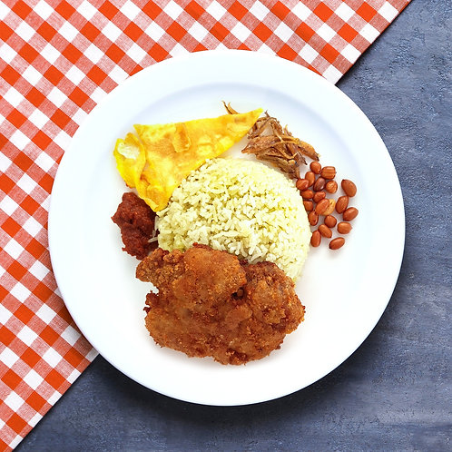 Nasi Lemak with Chicken and Egg