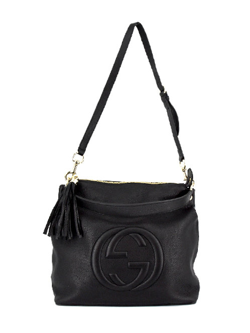 GG BLACK LEATHER TASSLE BAG GC536194