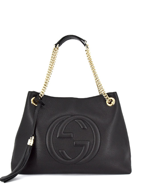 BLACK SOHO LEATHER CHAIN BAG GC536196-BLK