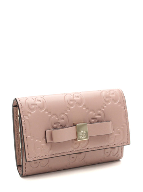 PINK BOWY GG LEATHER 6 KEY HOLDER GC388682