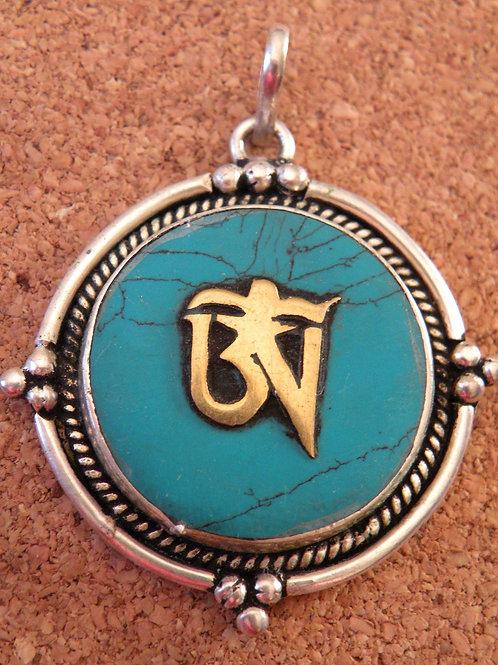 Tibetan Aum Turquoise Inlay *Silver Polished*