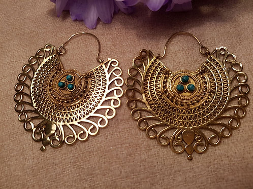 Chunky Ornamental Earrings with Gemstones