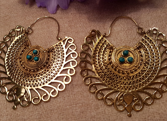 Floral Mandala Large Earring (Brass with Turquoise)
