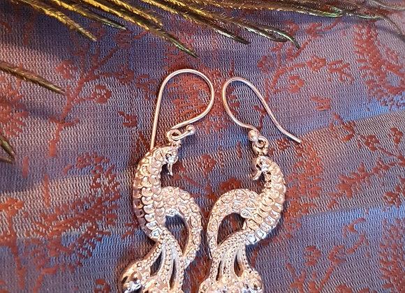 Peacock Earrings (Silver Plated)