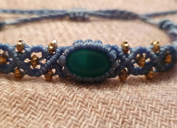 Green Onyx Macramé Light Blue Bracelet
