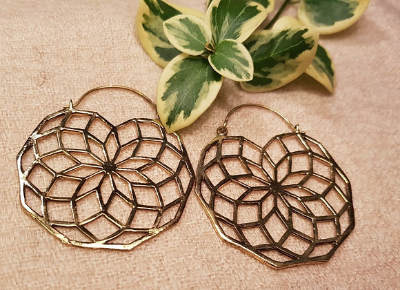 Floral Mandala Earrings Large (Brass Earring)