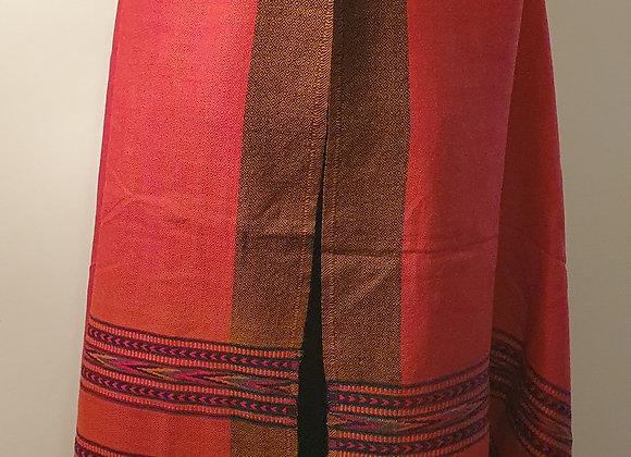 Large Double Sided Fine Woollen Himalayan Shawl/Blanket ( Rusty Orange)