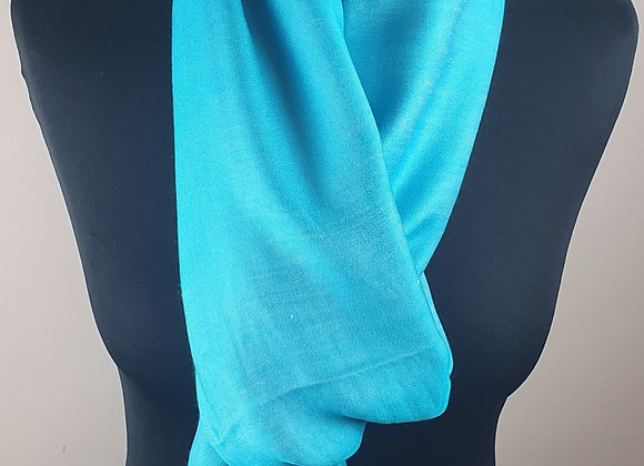 Double Shaded Pashmina In Soft Turquoise  and White