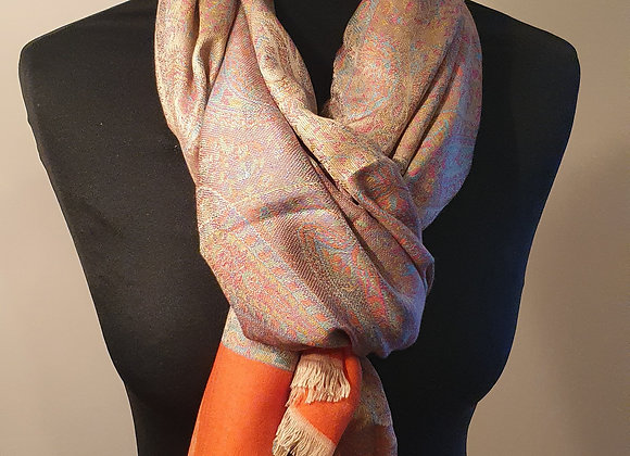 Multicoloured Designs In Light Orange Pashmina