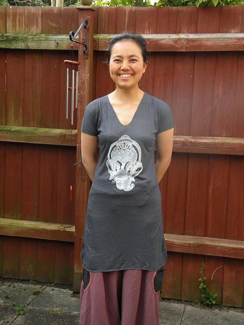 Women Elephant free size T- Shirt ( grey)