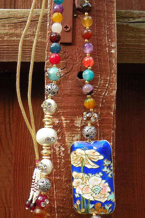 Carved metal beads and real stone jewellery