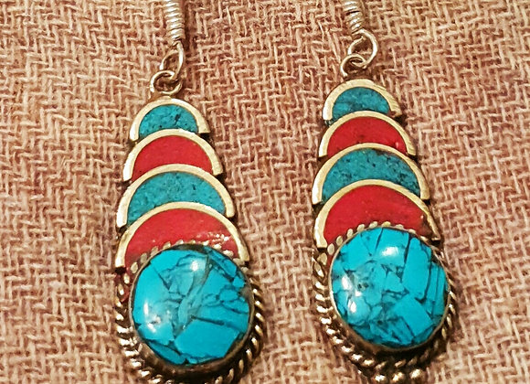 Tibetan Earrings with Turquoise and Coral Inlay work(Silver Plated)#26