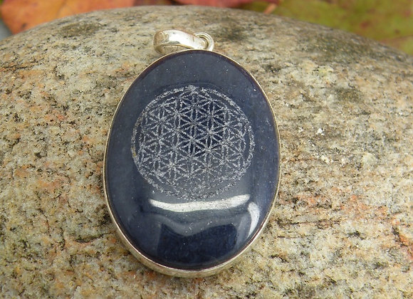 """""""Flower Of Life"""" Lazered on Lapis St. Silver"""