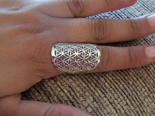 """""""Flower Of Life"""" Silver Polished Ring"""