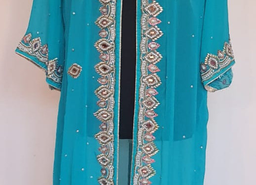 A beautiful Handstiched and Handembroidered Saree Gown Shrug