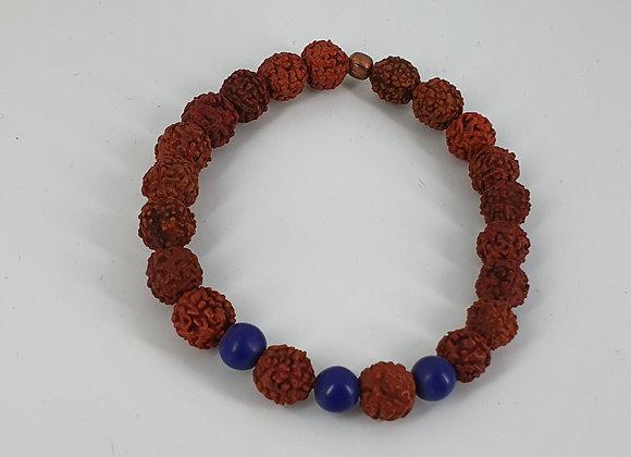 Healing Rudraksha Bead and Lapis Lazuli Bracelet