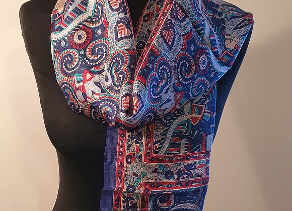 Fine Elephant Print Silk scarf (Navy Blue)
