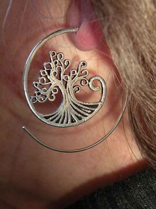 """""""Tree Of Life"""" silver polished Spiral Earrings"""