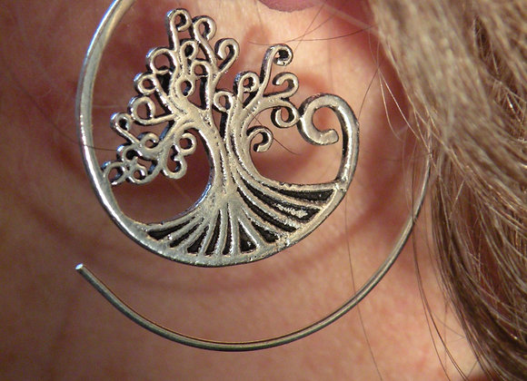 """Tree Of Life"" (Silver Plated) Spiral Earrings"