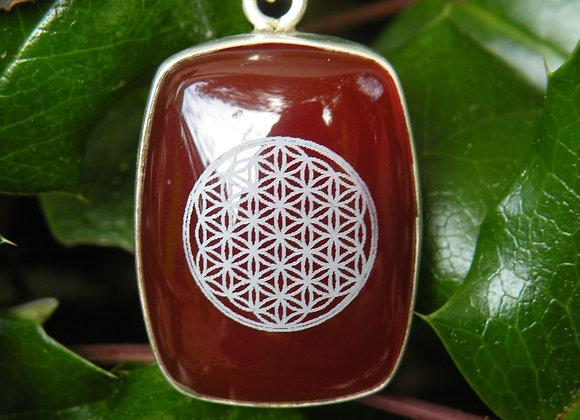 """Flower Of Life"" Sacred Geometry ..Red Jade Silver"