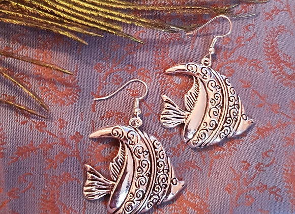 "Fish Earrings"" (Silver Plated)"