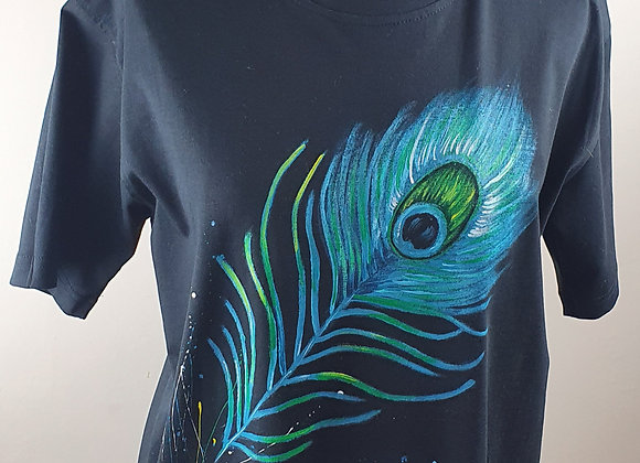 "Hand Painted ""Peacock Feathe""r on a cotton T-shirt"