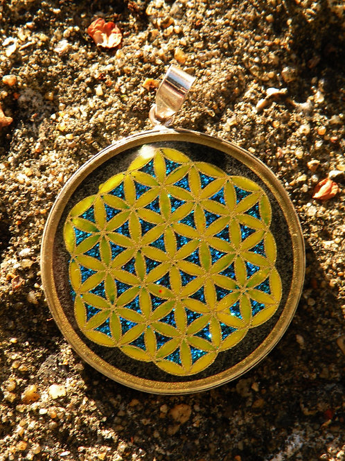 """""""Flower Of Life""""Hand Painted on Black Onix St.Silver"""