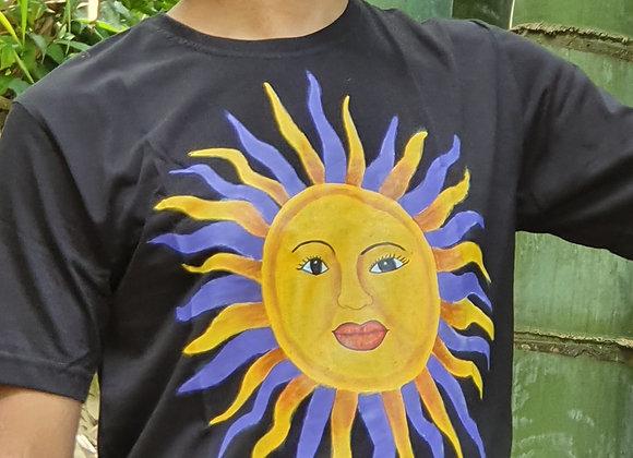 "Hand Painted:"" Sunshine Goddess""on Cotton T- shirt"