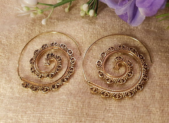 Spiral Floral Brass Earrings