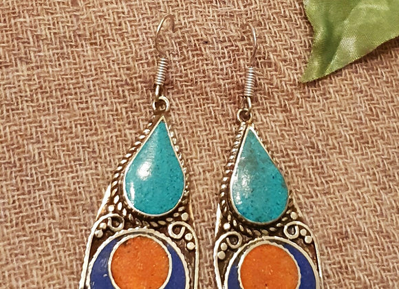 Drop Tibetan Earrings (Silver Plated)