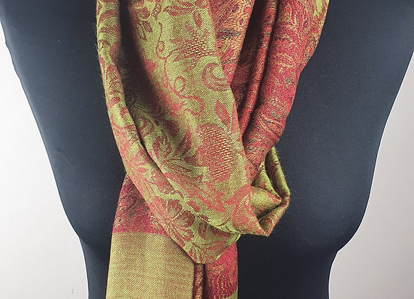 Designer Pashmina Stole In Olive Green and Rusty Brown