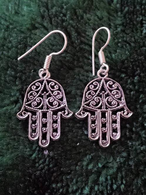 """Hamsa""(good luck) Earrings **silver Polished"