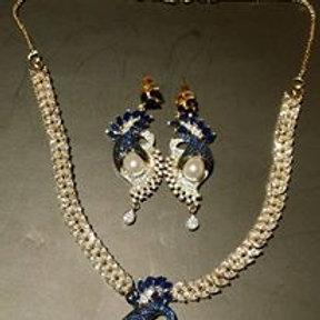 Blue Sephire and Cubic Zirccona  Necklace set