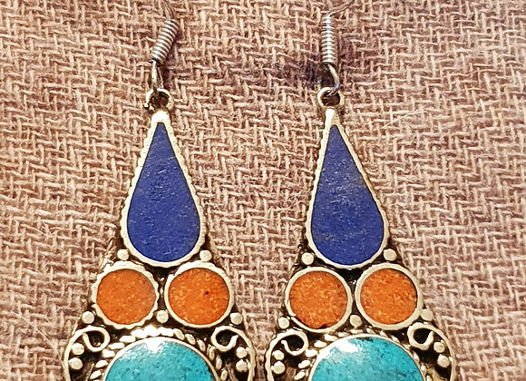 Maha Tibetan Earrings (Silver Plated)