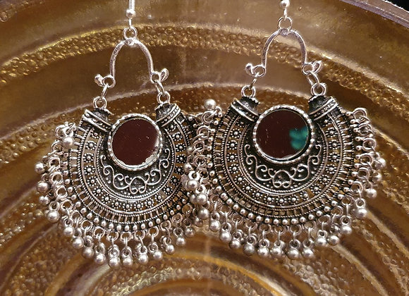 Silver Plated Antique finished Mirror Earrings