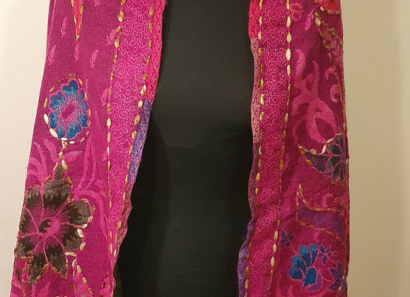 Large Double Sided Yak Woollen Stole, Hand Embroidered (Magenta, Turquoise