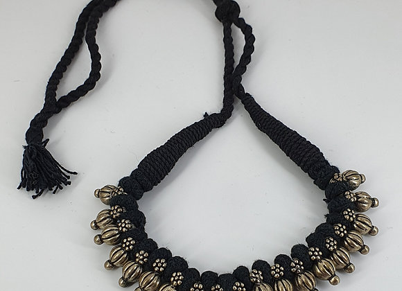 Silver Plated Antique finishedAdjustible Cotton Thread Necklace