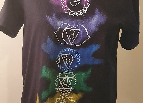 "Hand Painted:""Seven Chakra ""on Cotton -T shirt"