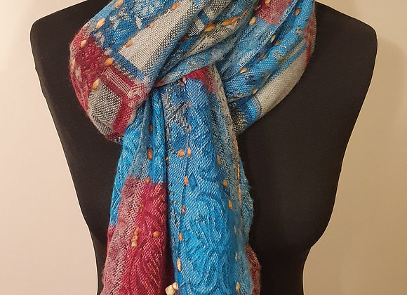 Large Double Sided Yak Woollen Stole, Hand Embroidered ( Turquoise, Red)