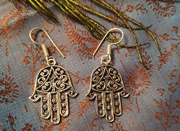 """Hamsa""(Good luck) Earrings(Silver Plated)"