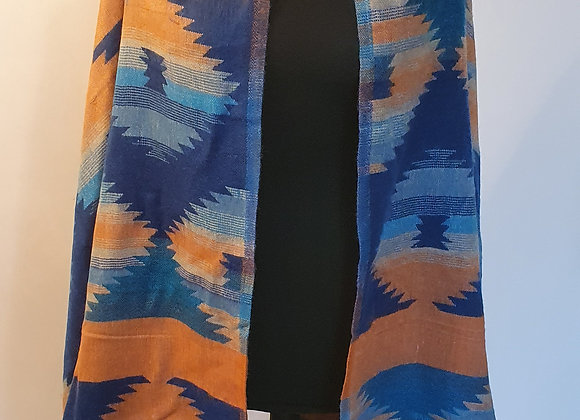 Large Double Sided Yak Woollen Shawl/Blanket (Turquoise, Light Orange)