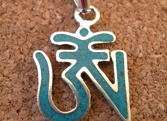 Tibetan Aum Turquoise Inlay *Silver Plated*
