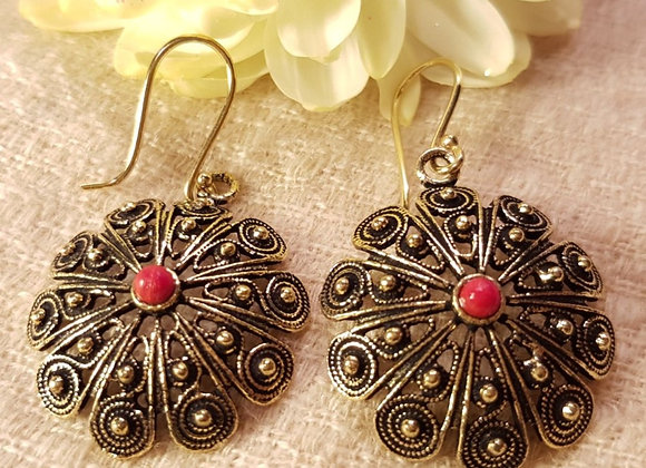 Floral Earring ( Brass WithCoral)