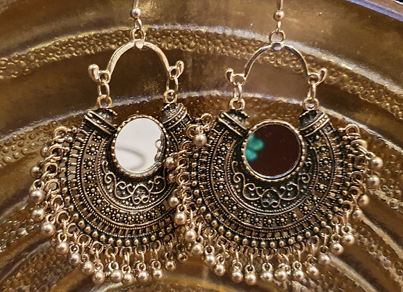 Antique finished Brass Mirror Earrings