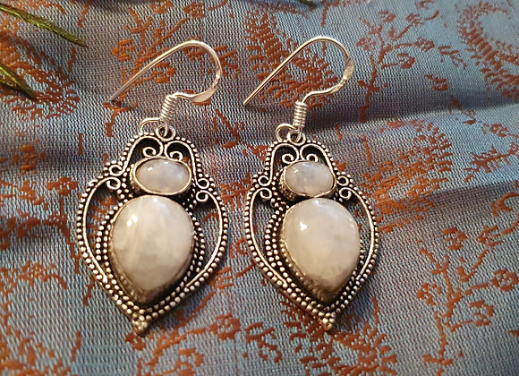 Moonstone Earrings  (Silver Plated)
