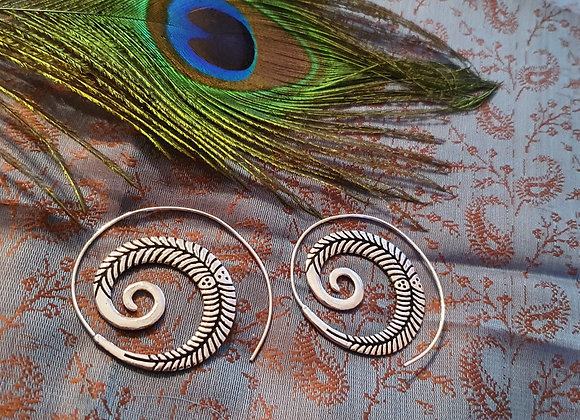 Large Spiral Earrings (Silver Plated)